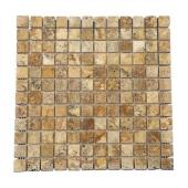 Travertin Elda 2,3x2,3 cm vieilli sur filet - mur, décoration - Ekolux