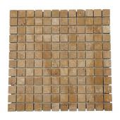 Travertin Noce 2,3x2,3cm vieilli sur filet - mur, décoration - Ekolux